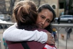 Jeanette Vizguerra, an undocumented Mexican mother of three US born children, embraces a supporter after speaking to the gathered crowd outside the First Unitarian Church in Denver, Colorado on February 18, 2017.<br /><br /><br /> Vizguerra has been living in the church basement since February 15th when she avoided a scheduled meeting with US Immigration and Customs Enforcement officials for fear of immediate detention and deportation. It is uncommon for US authorities to enter places of…