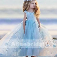 Blue Scoop Neckline Sleeveless A-Line Tulle With Appliques Flower Girl Dresses ,Cute Flower Girl Dresses, Cute Flower Girl Dresses, Flower Girl Tutu, Girls Dresses Online, Hair Wreaths, Flower Girl Hairstyles, Bridesmaid Dresses, Wedding Dresses, Types Of Dresses, Handmade Flowers