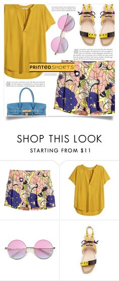"""Prints Charming: A Shorts Story"" by dolly-valkyrie ❤ liked on Polyvore featuring H&M, Fendi, Hermès and printedshorts"
