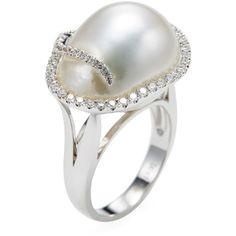 Tara Pearls Women's 18K White Gold, White South Sea Pearl & 0.47 Total... ($1,650) ❤ liked on Polyvore featuring jewelry, rings, white, 18k white gold ring, white ring, white gold jewelry, white gold cocktail rings and 18k ring