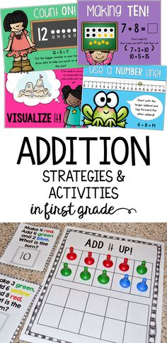 These addition strategies, games, centers, and anchor charts help you first grade students understand and finding sums within 20!