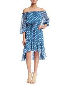 Camila Dotted Batik Off-the-Shoulder Dress, Blue by Diane von Furstenberg at Bergdorf Goodman.
