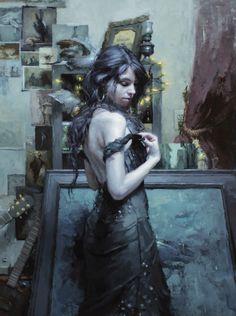 "Jeremy Mann, Sonata, oil on panel, 48 x 36"""