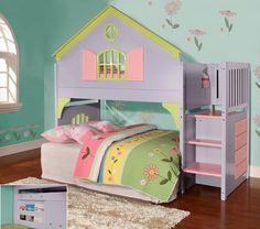 Toddler bed for baby girl ~ Found it at Wayfair - Donco Kids Twin Doll House Loft Bed with Staircase Loft Bunk Beds, Bunk Beds With Stairs, Kids Bunk Beds, Cool Toddler Beds, House Bunk Bed, Kids Bedroom Sets, Kids Bedroom Furniture, Girls Bedroom, Furniture Decor
