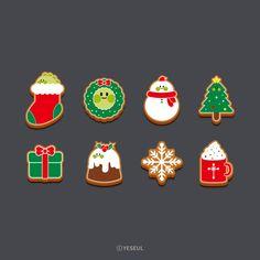 귀여운 크리스마스 쿠키 일러스트 Game Design, Book Design, Christmas Scenery, Poster Layout, Game Icon, Christmas Drawing, Christmas Stickers, Christmas Illustration, Creative Design