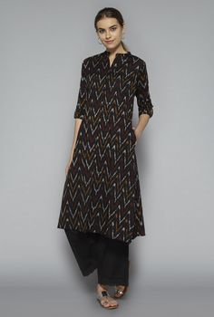 Utsa by Westside Black Ikkat Kurta Kurta Patterns, Frock Patterns, Ethnic Fashion, Indian Fashion, Indian Dresses, Indian Outfits, Ikkat Dresses, Churidar Designs, Indian Designer Suits