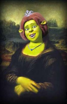 Shrek version of Mona Lisa Monet, La Madone, Mona Lisa Parody, Mona Lisa Smile, Famous Artwork, Wow Art, Italian Artist, Many Faces, Klimt