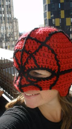 With great power, comes great responsibility. I custom designed and crochet Spiderman Mask for Jbikel. ***If you are interested in - visit to grab an unforgettable cool Super Hero T-Shirt! Crochet For Boys, Cute Crochet, Easy Crochet, Knit Crochet, Crochet Mask, Crochet Gifts, Crochet Toys Patterns, Kids Hats, Crochet Clothes