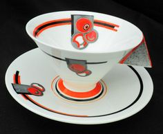 Shelley china Art Deco Vogue coral enamel fruit Tea cup and Saucer triangle handle