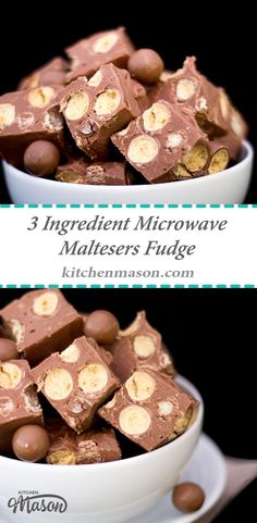 This indulgent 3 ingredient Microwave Maltesers Fudge is made in just 10 minutes! A great no bake treat that would make a lovely edible gift for Christmas or birthdays. Click through for the simple step by step recipe!