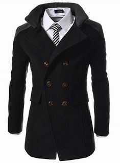 Winter Men Coat Funnel Neck Cotton Double-Breasted Topcoat