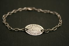Etched love sterling silver bracelet by bebrio on Etsy, $38.00