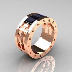 Dmitry Donskoy Mens 14K Rose Gold Black Diamond Channel Cluster Wedding Band R419M-14KRGBD