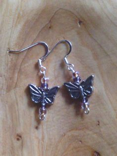 Butterfly earring with purple beads by PixieMoonCreations on Etsy, $10.00