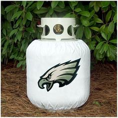 "Philadelphia Eagles Decorative Propane Cover Item #NFL0036-822 Officially licensed merchandise Showcase your team pride when you are grilling, camping or tailgating!  Fits all standard propane tanks with elastic top and velcro fasteners Designed to handle the harshest weather conditions Cleans easily with warm water Dimensions: 12""H x 30""W Material(s): polyvinyl"