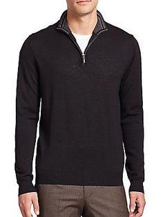 Toscano Merino Wool Half-Zip Sweater - Black - Size M