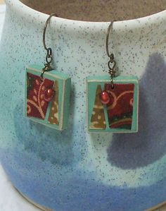 Textile Earrings E4Berry Buds by OhSoFabu on Etsy, $16.00