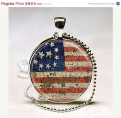 American Flag Necklace Patriotic Jewelry Glass Bezel Art Pendant with Ball Chain Included (ITEM B034)