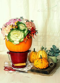 Pumpkin filled with flowers