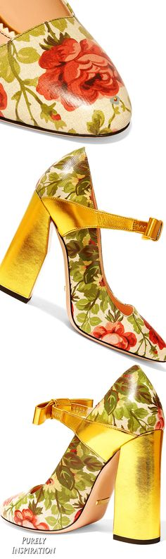 Gucci for NET-A-PORTER Floral-print textured-leather pumps | Purely Inspiration