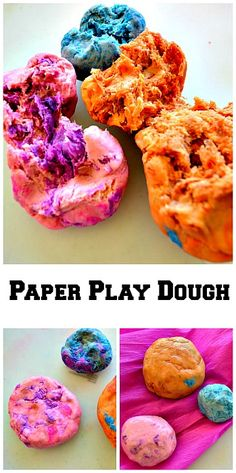 An easy play dough recipe using crepe paper Recently we shared an easy crepe paper sensory painting activity. On that day we extending the activity by creating something else with the mashed crepe pap Sensory Activities, Sensory Play, Activities For Kids, Crafts For Kids, Preschool Crafts, Preschool Activities, Easy Playdough Recipe, Homemade Playdough, Homemade Recipe
