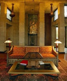 Charles Ennis House. 1924. Los Feliz neighborhood of Los Angeles, California. Texitle Block Period. Frank Lloyd Wright.