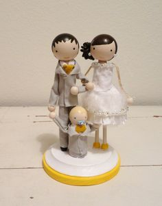 DIY Wedding Cake Topper parts - clothes pin - dowel  cap - wooden child. $5.50, via Etsy.