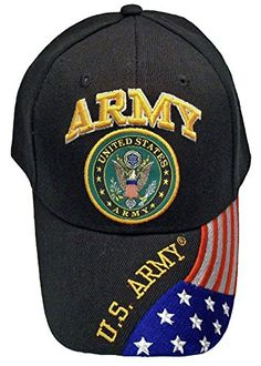 d3e0f51ca Army Hat Black Logo Baseball Cap with American Flag Bill Military Headwear