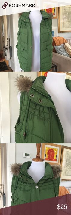 Green Mossimo Puffy Vest This vest is so cute! I love the bright green color and detachable faux-fur trim hood.  Size S would fit a 6 (as seen on my size 6 mannequin) or smaller.  Only worn a few times, in excellent condition. Mossimo Supply Co Jackets & Coats