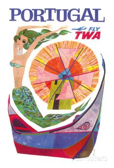 Portugal Fly TWA - Trans World Airlines - Mermaid Windmill Giclee Print at AllPosters.com