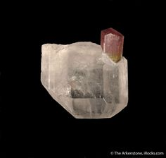 Tourmaline in Topaz (rare combination), Stak Nala, Haramosh Mts., Skardu District, Gilgit-Baltistan, Pakistan, Miniature, 3.8 x 3.4 x 3.2 cm, A remarkable combination piece featuring a gemmy, colorless Topaz pierced by an equally gemmy Tourmaline., For sale from The Arkenstone, www.iRocks.com. For more details on this piece and others, visit http://www.irocks.com/minerals/specimen/45749