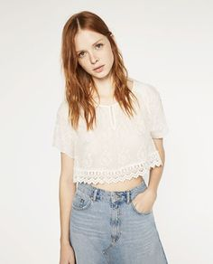 EMBROIDERED CROPPED TOP from Zara