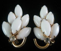 Milk Glass Navette Earrings - Vendome