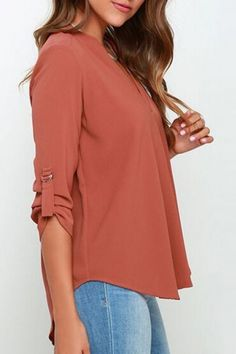Do you wear blouse? Optimize your comfort and beauty with this Solid Color V Neck Blouse. OASAP.com will give you a hot hit !