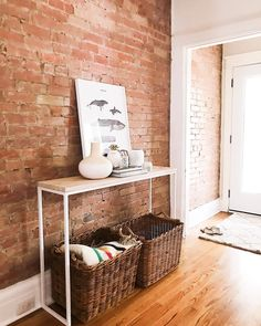 "Exposed brick wall follow @bluebirdkisses on Instagram for more! 2,449 Likes, 24 Comments - Ana ♡ Mom, Wife  (@bluebirdkisses) on Instagram: ""Hooray for Friday and a short week! I'm on my second cup of coffee and trying to work up the…"""