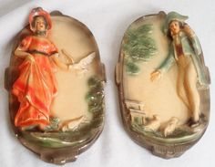 Vintage chalkware wall plaques Colonial by MyRetroRecollections