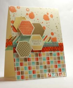 Hexagons on Retro Fresh DSP, Gorgeous Grunge, and Washi Tape, from Dawn Tidd Tapas, Hexagon Cards, Scrapbook Paper Crafts, Scrapbooking, Hexagon Shape, Card Maker, Stamping Up, Creative Cards, Stampin Up Cards