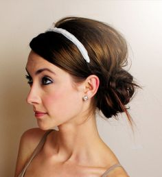 One of many wedding hair styles I like! Simple, but very cute! I bought a headband from David's Bridal and I think this would be very cute!! #DBBridalStyle