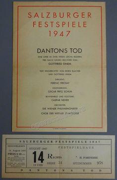 Von Einem, Gottfried - Fricsay, Ferenc - Dantons Tod by von Einem Program 1947 Salburg Festival