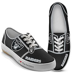 Shop a great collection of Oakland Raiders collectibles from Bradford Exchange. Select from your favorite NFL teams featuring on figurines, handbags & canvas sneakers and show your love! Oakland Raiders Shoes, Raiders Team, Raiders Stuff, Raiders Girl, Raiders Football, Nfl Football, Oakland Raiders Merchandise, Oakland Raiders Images, Football Stuff