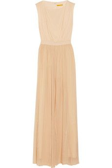 Alice + Olivia Leather-trimmed silk-chiffon maxi dress | NET-A-PORTER