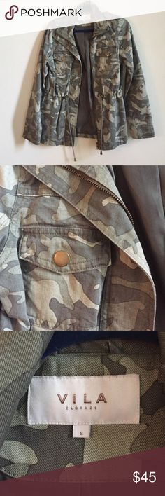 Vila Clothing Camo Jacket Lightweight camo jacket. Perfect for fall. Originally purchased from ASOS. Looks so cute with white jeans and a chambray shirt. In excellent condition. No trades, taking to consignment next week. Thanks in advance. ASOS Jackets & Coats Utility Jackets