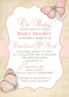 Butterfly Baby Shower Invitation Butterfly by SharingAPassionINC