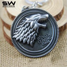 Game Of Thrones Keychain House Stark Winter Is Coming Metal Pendant Keyring