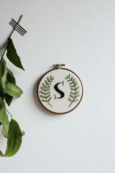 Custom Monogram Embroidery Hoop Art