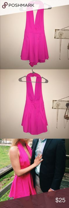 Hot pink romper Bought this from Hello Molly website! It is so cute, I wore it for my boyfriends formal and received over 20 compliments. Shows a little cleavage & is low back (so attractive). Size 8 in Australia but equivalent to a small in US. Really don't want to sell it but I need to! hellomolly  Dresses