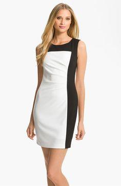 Calvin Klein Colorblock Ponte Sheath Dress, V1329