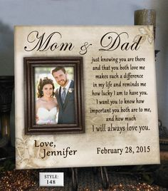 Shop for on Etsy, the place to express your creativity through the buying and selling of handmade and vintage goods. Wedding Picture Frames, Wedding Frames, Wedding Pictures, Personalized Photo Frames, Personalized Wedding Gifts, Gifts For Father, Mother Gifts, Wedding Canvas, Parent Gifts
