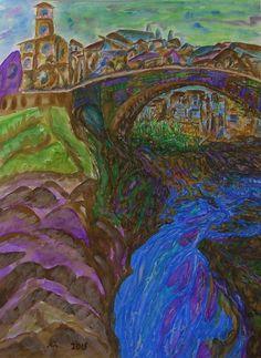 City painting Water Falls Original by JannaChaykaGallery on Etsy