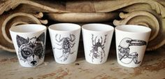 Porcelain cups by French artist Little Madi